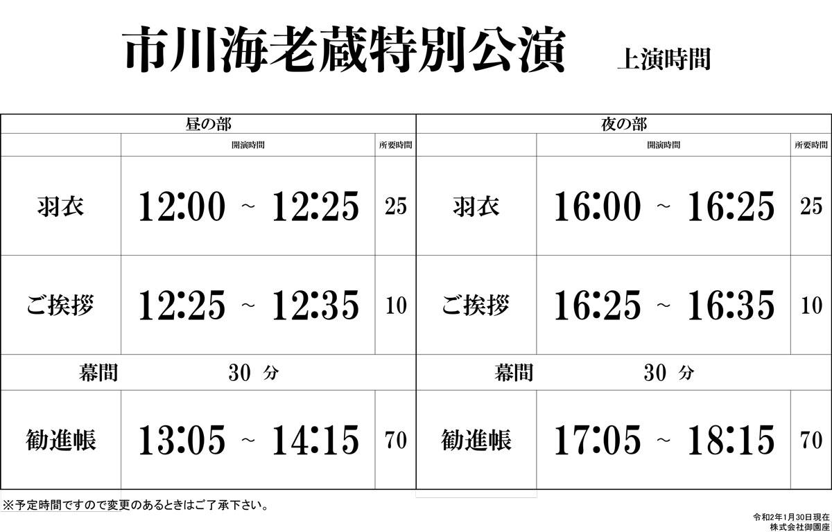 市川海老蔵特別講演-開演時間表